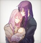 1girl 2boys baby burn_scar closed_eyes cousins evillious_nendaiki family father_and_son good_end hair_down highres holding_baby husband_and_wife japanese_clothes kamui_gakupo kimono long_hair megurine_luka mother_and_child mother_and_son multiple_boys scar scar_on_face sleeping sudou_kayo very_long_hair vocaloid warabi_(danngo-mitarasi) what_if