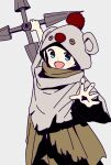 1girl :d arm_up blonde_hair blue_eyes character_hood cloak commentary_request cosplay dot_nose final_fantasy final_fantasy_vii final_fantasy_vii_remake grey_background grey_cloak happy highres hitoribocchi_no_marumaru_seikatsu holding holding_weapon hood hood_up katsuwo_(cr66g) looking_at_viewer moogle open_mouth shuriken simple_background smile solo sotoka_rakita split_mouth spread_fingers standing torn_cloak torn_clothes weapon yuffie_kisaragi yuffie_kisaragi_(cosplay)