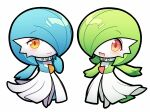 2girls alternate_color bangs blue_hair blue_skin blush bob_cut chibi closed_mouth collar colored_skin commentary eyebrows_visible_through_hair flat_chest full_body gardevoir gen_3_pokemon green_hair green_skin hair_over_one_eye hand_to_own_mouth hand_up happy heart heart_in_eye looking_at_viewer lotosu mega_stone multicolored multicolored_skin multiple_girls open_mouth orange_eyes outstretched_arm outstretched_arms pokemon pokemon_(creature) red_eyes shiny shiny_hair shiny_pokemon short_hair smile standing star_(symbol) star_in_eye symbol_in_eye symmetry two-tone_skin white_skin