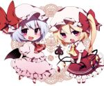 2girls :d :o ascot bangs bat_wings bow chibi crystal dress eyebrows_visible_through_hair fang flandre_scarlet full_body hat hat_bow holding laevatein looking_at_viewer mob_cap multiple_girls one_side_up open_mouth pink_dress pink_headwear puffy_short_sleeves puffy_sleeves purple_hair red_bow red_eyes red_footwear red_neckwear red_skirt red_vest remilia_scarlet shirt short_hair short_sleeves siblings sisters skirt smile standing touhou vest white_headwear white_shirt wings yellow_neckwear you_(noanoamoemoe)