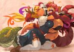 2girls bangs black_panties blonde_hair blush breasts capelet closed_eyes closed_mouth commentary dragon_girl dragon_horns dragon_tail english_commentary fighting frilled_hairband frills frown fur_trim garter_straps gloves hair_pull hairband highres horns huge_breasts ilulu_(maidragon) kneeling kobayashi-san_chi_no_maidragon large_breasts loafers long_hair maid multicolored_hair multiple_girls open_mouth orange_hair panties profile purple_hair redhead scratches scrooge_mckhyle sharp_teeth shoes tail teeth thigh-highs tohru_(maidragon) torn_clothes torn_legwear two-tone_hair underwear very_long_hair white_gloves white_legwear
