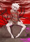 1boy :d bangs bare_legs barefoot chain clouds collar collarbone danganronpa_(series) danganronpa_another_episode:_ultra_despair_girls english_commentary grey_hair hands_on_own_thighs injury komaeda_nagito looking_at_viewer male_focus metal_collar mixed-language_commentary open_mouth pink_blood red_nails red_sky shirt sitting sky sleeves_past_wrists smile solo striped striped_shirt upper_teeth yandr4hope