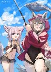 2girls :o animal_ears arknights bikini black_bikini black_swimsuit blue_eyes clouds commentary covered_navel ears_through_headwear fang fish fishing fishing_rod fox_ears fox_girl fox_tail hair_between_eyes hair_ornament hairclip highleg highleg_swimsuit holding holding_fishing_rod hood hood_up jacket light_brown_hair multiple_girls navel official_alternate_costume one-piece_swimsuit open_mouth projekt_red_(arknights) projekt_red_(light_breeze)_(arknights) red_(girllove) red_jacket sky sussurro_(arknights) sussurro_(summer_flowers)_(arknights) swimsuit tail thigh_strap twitter_username wolf_ears yellow_eyes
