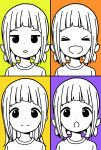 >_< 1girl :d :o alternate_hairstyle bangs blunt_bangs closed_eyes closed_mouth commentary_request dot_nose expressions facing_viewer happy highres jitome katsuwo_(cr66g) kise_sacchan long_hair looking_at_viewer mitsuboshi_colors multicolored multicolored_background multiple_views open_mouth orange_background parted_lips partially_colored portrait purple_background shirt short_hair smile split_mouth yellow_background
