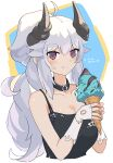 1girl :t ahoge asicah black_collar black_tank_top blush collar dated fingerless_gloves food gloves holding holding_food horns ice_cream ice_cream_cone long_hair looking_at_viewer original smile solo tank_top upper_body very_long_hair violet_eyes white_gloves white_hair