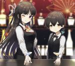 alternate_costume bangs bar bartender black_hair black_neckwear black_vest blue_ribbon brown_eyes cocktail_glass commentary_request commission cowboy_shot cup drinking_glass folded_ponytail hair_ribbon hime_cut hiyou_(kancolle) kantai_collection kasuga_maru_(kancolle) long_hair looking_at_viewer magatama one_eye_closed red_eyes ribbon skeb_commission swept_bangs vest yamashichi_(mtseven)