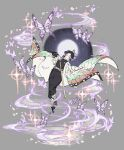 1girl absurdres black_hair black_pants bug butterfly butterfly_hair_ornament cherry_blossoms closed_mouth floating grey_background hair_ornament hand_on_own_chest highres insect japanese_clothes katana kimetsu_no_yaiba kochou_shinobu long_sleeves multicolored_hair pants papajay_(jennygin2) petals ponytail purple_hair sandals sheath sheathed simple_background solo sparkle sword violet_eyes weapon wide_sleeves