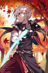 1boy antenna_hair armor bandaged_hands bandages bangs black_gloves bob_(bab67ii) day fingerless_gloves genshin_impact gloves glowing glowing_weapon hair_between_eyes highres holding holding_sword holding_weapon japanese_armor japanese_clothes kaedehara_kazuha leaf leaf_print long_hair male_focus multicolored_hair outdoors ponytail redhead shoulder_armor solo streaked_hair sword tree weapon white_hair