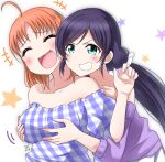 2girls breast_grab breasts closed_eyes collarbone commentary_request eyebrows_visible_through_hair grabbing grabbing_from_behind green_eyes grin highres large_breasts laughing long_hair love_live! love_live!_school_idol_project love_live!_sunshine!! low_twintails multiple_girls off-shoulder_shirt off_shoulder orange_hair purple_hair shirt short_hair smile takami_chika toujou_nozomi twintails upper_body zero-theme