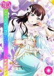 angel black_hair blush character_name dress green_eyes kurosawa_dia long_hair love_live!_school_idol_festival love_live!_sunshine!! smile wings