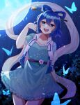 1girl :d absurdres bangs belt blue_dress blue_eyes blue_hair blush breasts bug butterfly chromatic_aberration collarbone commentary_request cowboy_shot dress drill_hair drill_locks dutch_angle eyebrows_visible_through_hair flower frills from_below full_moon hagoromo hair_between_eyes hair_ornament hair_rings hair_stick hand_in_hair hand_up highres insect iriel kaku_seiga light_particles looking_at_viewer medium_breasts moon night night_sky open_clothes open_mouth open_vest puffy_short_sleeves puffy_sleeves purple_flower shawl short_hair short_sleeves sky smile solo sparkle touhou twin_drills vest white_vest