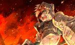 1girl armor blonde_hair blood blood_on_face broken_helmet embers fate/grand_order fate_(series) fire full_armor gareth_(fate) green_eyes helmet highres kan_(aaaaari35) one_eye_closed pauldrons screaming shield shoulder_armor