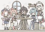 1boy 4girls animal_ears apron armor armored_dress bangs bangs_pinned_back black_gloves black_hair blue_gloves blue_hair blue_shorts book boots braid braided_bangs brown_hair cat_ears cat_girl cat_tail cup detached_sleeves diona_(genshin_impact) dress earrings eula_(genshin_impact) flower genshin_impact gloves gradient_hair green_eyes hair_flower hair_ornament hat highres holding holding_cup indoors jacket jewelry long_hair maid maid_headdress multicolored multicolored_hair multiple_girls noelle_(genshin_impact) pants pink_hair red_flower red_rose rose shionosuke short_hair shorts silver_hair single_earring sitting standing table tail waist_apron white_apron window yanfei_(genshin_impact) yellow_eyes zhongli_(genshin_impact)