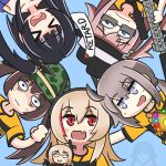 >_< 6+girls :d antenna_hair ar-15 bangs black_hair blonde_hair blue_eyes blue_sky blush braid brown_hair camouflage_helmet character_request clenched_hand closed_mouth doll fang fedora from_below ghost girls'_frontline gun hair_between_eyes hair_ornament hand_on_another's_shoulder hat helmet highres holding holding_gun holding_weapon infinity_gauntlet long_hair looking_at_another looking_at_viewer m14_(girls'_frontline) m200_(girls'_frontline) m4_sopmod_ii_(girls'_frontline) multicolored_hair multiple_girls oekaki open_mouth pink_hair ponytail red_eyes rifle serjatronic short_sleeves side_ponytail sky smile soccer_uniform sportswear st_ar-15_(girls'_frontline) streaked_hair sunglasses super_sass_(girls'_frontline) twin_braids violet_eyes weapon wide-eyed