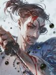 1boy beads blood blood_on_face blood_splatter bloody_weapon blue_jacket eyepatch fangs grin highres jacket japanese_clothes jewelry jiao_mao majima_gorou male_focus mature_male necklace okita_souji_(isshin) one-eyed open_clothes open_jacket orange_eyes ryuu_ga_gotoku ryuu_ga_gotoku_isshin samurai smile smirk tied_hair weapon white_background