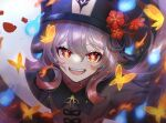 1girl :d ahoge bangs blurry brown_hair bug butterfly chinese_clothes commentary_request depth_of_field eyebrows_visible_through_hair flower from_above genshin_impact ghost hair_between_eyes hat hat_flower hat_ornament hitodama hu_tao_(genshin_impact) insect long_hair long_sleeves looking_at_viewer looking_up open_mouth orange_eyes outstretched_arms run_(yukatokabe) sidelocks smile solo spread_arms symbol-shaped_pupils twintails