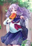 1girl contemporary eating fire_emblem fire_emblem:_rekka_no_ken fire_emblem:_the_blazing_blade florina_(fire_emblem) late_for_school purple_hair running running_late sad sailor_uniform student