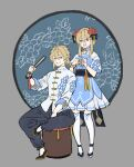 1boy 1girl adjusting_another's_hair aether_(genshin_impact) alternate_costume bangs blonde_hair braiding_hair brother_and_sister chinese_clothes closed_fan dress floral_print folding_fan genshin_impact grey_background hair_between_eyes hair_ornament hairdressing hand_fan highres holding holding_fan long_hair lumine_(genshin_impact) open_mouth papajay_(jennygin2) short_hair_with_long_locks short_sleeves siblings simple_background sitting standing tassel thigh-highs upper_teeth white_legwear yellow_eyes