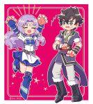 1boy 1girl blue_legwear boo fire_emblem fire_emblem:_awakening fire_emblem:_kakusei fire_emblem:_rekka_no_ken fire_emblem:_the_blazing_blade florina_(fire_emblem) lonqu purple_hair scared