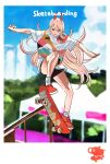 +_+ 1girl 2020_summer_olympics alternate_costume black_shorts blonde_hair blue_sky blurry blurry_background chainsaw_man clouds cloudy_sky commentary copyright_name day demon_horns english_text full_body hair_between_eyes highres horns jumping long_hair looking_down multicolored_shirt nike outdoors outstretched_arms parted_lips pochita_(chainsaw_man) power_(chainsaw_man) product_placement railing red_eyes red_footwear ryosuketarou sharp_teeth shirt shoes short_shorts short_sleeves shorts skateboard skateboarding sky socks solo t-shirt teeth translated white_legwear white_shirt