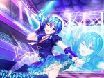 1girl beret blue_eyes blue_hair blue_skirt earrings gloves glowstick hat highres holding holding_microphone hololive hoshimachi_suisei idol jewelry layered_skirt microphone mugiusagi necklace necktie one_eye_closed open_mouth purple_gloves screen side_ponytail skirt solo stage stage_lights star_(symbol) star_earrings star_in_eye star_necklace symbol_in_eye thigh-highs virtual_youtuber white_legwear zoom_layer