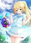 1girl bangs blonde_hair blue_sky braid closed_mouth clouds cloudy_sky cosmog day drawstring eyebrows_visible_through_hair gen_7_pokemon green_eyes hands_up legendary_pokemon lillie_(pokemon) long_hair looking_at_viewer murano outdoors pleated_skirt pokemon pokemon_(creature) pokemon_(game) pokemon_sm ponytail puffy_short_sleeves puffy_sleeves shirt short_sleeves skirt sky smile sparkle very_long_hair white_shirt white_skirt