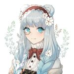 1girl animal_ears arknights bear_ears bear_girl braid close-up eyebrows_visible_through_hair flower frilled_hairband frills hair_flower hair_ornament hairband highres istina_(arknights) istina_(bibliosmia)_(arknights) light_blue_eyes light_blue_hair looking_at_viewer monocle nekonomi official_alternate_costume red_hairband shirt solo sparkling_eyes white_background white_flower white_shirt