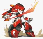1girl absurdres blush dust energy_sword highres holding holding_sword holding_weapon kuruton486 looking_ahead magic_henshin mecha no_humans open_hand red_eyes scarlet_sonic science_fiction smile solo sword twitter_username weapon wheel white_background