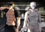 2boys abs bare_pectorals baseball_cap black_pants blonde_hair blood blood_on_face bloody_clothes colored_skin hair_over_one_eye hat hataraku_saibou highres holding holding_knife killer_t_(hataraku_saibou) knife looking_at_viewer male_focus military military_uniform multiple_boys muscular muscular_male navel nipples nosebleed open_clothes open_shirt pants pectorals serious shirt short_hair short_sleeves silver_hair stomach toned toned_male torn_clothes torn_shirt tsunami_(sorudora) u-1146 uniform white_blood_cell_(hataraku_saibou) white_skin wind
