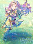 1girl blue_legwear fire_emblem fire_emblem:_rekka_no_ken fire_emblem:_the_blazing_blade florina_(fire_emblem) grass hair_blowing pastel_colors purple_hair smile white_dress wind
