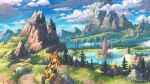 1girl artist_name backpack bag bangs blue_eyes blue_sky breasts bridge brown_pants building clouds cloudy_sky facing_viewer fantasy field floating_hair flower flower_field fog gloves grass highres holding holding_stick lake long_hair looking_to_the_side mountain mountainous_horizon nagi_itsuki on_rock orange_hair original pants petals pink_flower pointy_ears ponytail reflective_water scenery shirt sitting sky solo stick trail tree water wide_shot yellow_gloves yellow_shirt
