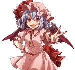 1girl :d bangs bat_wings blue_hair cowboy_shot fang fingernails hand_on_hip hat hat_ribbon long_fingernails looking_at_viewer mob_cap open_mouth pink_headwear pink_shirt pink_skirt pointy_ears red_eyes red_nails red_ribbon remilia_scarlet ribbon shirt short_hair short_sleeves simple_background skin_fang skirt smile solo standing touhou twitter_username unkmochi v white_background wings wrist_cuffs