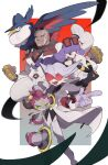 1girl 2boys :d absurdres bangs belt_buckle black_eyes black_shirt blurry buckle clenched_hands closed_mouth coat collared_shirt commentary_request dark-skinned_male dark_skin eyewear_on_head floating_hair fur-trimmed_coat fur_trim gen_2_pokemon gen_4_pokemon gen_6_pokemon gloves highres honchkrow hoopa hoopa_(confined) jacket lear_(pokemon) long_hair looking_back mimura_(nnnnnnnnmoo) multiple_boys mythical_pokemon necktie open_mouth pants pointing pokemon pokemon_(creature) pokemon_(game) pokemon_masters_ex purple_gloves purple_hair rachel_(pokemon) red_neckwear sawyer_(pokemon_masters_ex) shirt short_hair sleeves_past_fingers sleeves_past_wrists smile spiky_hair sunglasses tongue umbreon upper_teeth very_short_hair white_coat white_jacket white_pants