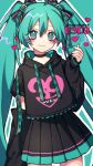 1girl 39 bangs black_bow black_shirt black_skirt black_sleeves blue_background blue_eyes blue_hair bow character_name closed_mouth detached_sleeves eyebrows_visible_through_hair hair_between_eyes hair_bow hand_up hatsune_miku heart heart-shaped_pupils highres holding kyouda_suzuka long_hair long_sleeves looking_at_viewer multicolored_bow number pink_bow pink_heart shirt short_sleeves simple_background skirt smile solo standing symbol-shaped_pupils t-shirt twintails twitter_username vocaloid