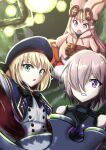 3girls armor artoria_pendragon_(all) artoria_pendragon_(caster)_(fate) bag bangs bare_shoulders black_armor black_bow black_neckwear blonde_hair blue_capelet blue_headwear bow bowtie buttons capelet commentary_request dress eyebrows_visible_through_hair fate/grand_order fate_(series) green_eyes habetrot_(fate) hair_between_eyes hair_over_one_eye hat highres holding holding_shield holding_weapon hood hood_down light_particles long_hair long_sleeves looking_at_viewer majrise mash_kyrielight multicolored multicolored_capelet multicolored_clothes multiple_girls one_eye_covered open_mouth parted_lips pink_dress pink_hair pink_headwear pointy_ears red_capelet red_eyes satchel shield short_hair sidelocks sitting teeth violet_eyes weapon white_dress
