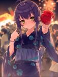 1girl ahoge bangs blurry blurry_background blush bracelet candy_apple closed_mouth commentary_request crowd depth_of_field eyebrows_visible_through_hair floral_print food hair_between_eyes hana_mori highres holding holding_food japanese_clothes jewelry kimono long_hair long_sleeves looking_at_viewer night obi original outdoors outstretched_arm people print_kimono purple_kimono sash sidelocks solo_focus wide_sleeves yellow_eyes