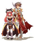 1boy 1girl archbishop_(ragnarok_online) armor armored_boots bangs black_dress black_footwear blue_eyes blush boots breastplate breasts brown_hair closed_mouth commentary_request contrapposto cross dress emon-yu eyebrows_visible_through_hair full_body gauntlets hair_between_eyes head_wings juliet_sleeves leg_armor long_hair long_sleeves looking_at_viewer medium_breasts pink_hair puffy_sleeves ragnarok_online redhead rune_knight_(ragnarok_online) short_hair simple_background smile spiked_pauldrons standing thigh-highs two-tone_dress white_background white_dress white_legwear white_wings wings wolf_hat