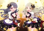 2girls :d bangs black_footwear black_hair black_skirt black_vest blurry blurry_background boots brown_eyes center_frills commentary_request confetti depth_of_field eyebrows_visible_through_hair feet_out_of_frame frills grey_hair hair_between_eyes hair_ornament handa_roko highres idolmaster idolmaster_million_live! idolmaster_million_live!_theater_days jacket multiple_girls open_mouth outstretched_arm parted_bangs pleated_skirt puffy_short_sleeves puffy_sleeves sansei_rain shirt short_sleeves skirt smile standing standing_on_one_leg star_(symbol) star_hair_ornament takayama_sayoko v vest violet_eyes white_jacket white_shirt wrist_cuffs