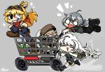 1boy 3girls ^_^ bandaged_head bandages bird black_gloves blonde_hair bottle breasts brown_headwear chibi closed_eyes dark-skinned_male dark_skin dust english_commentary facial_hair flying friday_night_funkin' gloves goggles goggles_on_head grey_background grey_hair hair_ornament hairclip hololive hololive_english in_shopping_cart looking_to_the_side medium_breasts multicolored_hair multiple_girls mustache mythbreakers_(hololive_english) one_eye_covered open_mouth owl parody pointy_ears red_scarf running scarf scout_(mythbreakers) shopping_cart smile streaked_hair style_parody thegreatrouge tiara_(mythbreakers) uhu_(mythbreakers) watoto_(mythbreakers) white_hair world_of_darkness yuul_b_alwright_(mythbreakers)