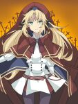 1girl artoria_pendragon_(all) artoria_pendragon_(caster)_(fate) artoria_pendragon_(caster)_(fate)_(cosplay) bangs belt beret blonde_hair bokujoumonogatari-futago bow buttons cape capelet closed_mouth cosplay cowboy_shot double-breasted eyebrows_visible_through_hair fate/grand_order fate_(series) frown gem gloves gradient gradient_background green_eyes hat holding holding_staff jacket long_hair long_sleeves looking_at_viewer mordred_(fate) mordred_(fate)_(all) o-ring orange_background outdoors red_bow red_cape red_headwear ribbon shirt skirt solo staff standing white_jacket