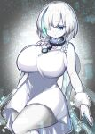 1girl alternate_breast_size azur_lane black_nails blue_eyes breasts collar colored_skin dress enostal expressionless eyebrows_visible_through_hair hair_over_one_eye highres huge_breasts large_breasts multicolored_hair nail_polish older pale_skin short_hair solo streaked_hair tb_(azur_lane) thighs white_dress white_hair white_skin