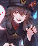 1girl :d absurdres bangs black_hair black_nails commentary english_commentary eyebrows_visible_through_hair flower genshin_impact ghost ghost_pose hair_between_eyes hat hat_flower hat_ornament highres hitodama hu_tao_(genshin_impact) long_hair long_sleeves looking_at_viewer open_mouth red_eyes rezoeline sidelocks simple_background smile symbol-shaped_pupils twintails