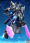 axe blue_bow bow dated energy_axe energy_sword english_commentary gelgoog gundam highres holding holding_axe holding_sword holding_weapon hololive horns hoshimachi_suisei mecha mechanization mobile_suit mobile_suit_gundam no_humans one-eyed pravin_rao_santheran science_fiction single_horn solo space sword violet_eyes virtual_youtuber weapon