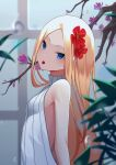 1girl abigail_williams_(fate) absurdres bangs bare_shoulders blonde_hair blue_eyes blush breasts cherry fate/grand_order fate_(series) flower food forehead fruit hair_flower hair_ornament highres long_hair looking_at_viewer mouth_hold parted_bangs pillow_(blackpirou) small_breasts solo