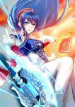 armor axe b_pearlwhite blue_eyes blue_hair book fire fire_emblem fire_emblem:_the_binding_blade fur_collar headband lilina lilina_(fire_emblem) nintendo pointing_up