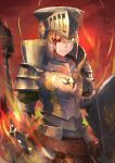 1girl absurdres armor blonde_hair blood blood_on_face clenched_teeth fate/grand_order fate_(series) fire full_armor gareth_(fate) green_eyes hakohako-does helmet highres holding holding_shield holding_weapon huge_filesize lance one_eye_closed polearm shield teeth weapon