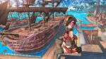 1girl beach boat breasts cup epaulettes eyepatch from_side harbor hat highres holding holding_cup hololive houshou_marine jacket large_breasts long_hair looking_at_viewer mast miniskirt nagi_itsuki ocean off_shoulder open_mouth pirate_hat pirate_ship red_eyes redhead rope scenery ship sitting skirt smile solo thigh-highs twintails virtual_youtuber walkway watercraft wide_shot wooden_floor zettai_ryouiki