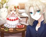 1boy 1girl 3d_background :d ahoge albedo_(genshin_impact) alternate_costume bangs blurry brother_and_sister brown_hair cake casual collarbone commentary_request contemporary couch cupcake depth_of_field food fruit gagseol_(user_pnzn5823) genshin_impact hair_between_eyes klee_(genshin_impact) light_brown_hair long_hair looking_at_viewer looking_down low_twintails male_focus open_mouth orange_eyes pillow pointy_ears siblings sidelocks silver_hair smile spaghetti_strap strawberry tabel twintails