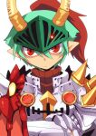 1boy armor bangs breastplate closed_mouth commentary_request crossed_arms emon-yu gauntlets green_hair hair_between_eyes horns looking_at_viewer male_focus pauldrons plume pointy_ears ragnarok_online red_eyes rune_knight_(ragnarok_online) short_hair shoulder_armor simple_background solo spiked_pauldrons upper_body visor_(armor) white_background