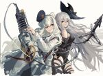 2girls animal_ears arknights arm_cuffs bangs bear_ears black_dress black_headwear black_pants blue_eyes blue_hair blue_headwear breasts closed_mouth clothing_cutout commentary_request cowboy_shot dress hair_between_eyes harpoon_gun hat heterochromia highres holding holding_weapon long_hair long_sleeves looking_at_viewer medium_breasts multicolored_hair multiple_girls pants red_eyes restrained rosa_(arknights) sawkm silver_hair simple_background skadi_(arknights) streaked_hair tail thigh_cutout very_long_hair weapon white_background white_dress